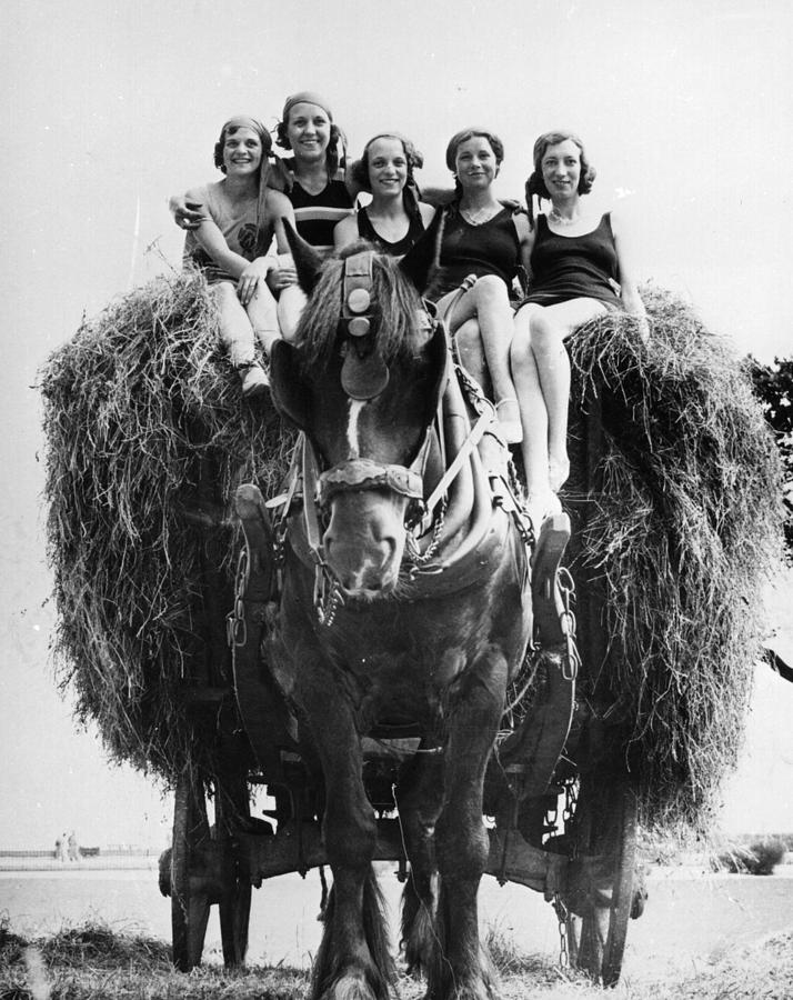 Young Adult Photograph - Ride On A Hay Cart by Fox Photos