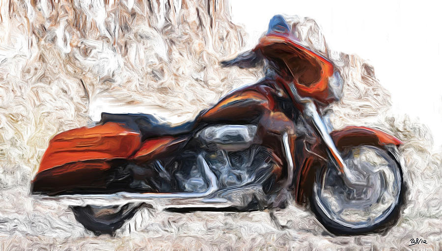 Motorcycles Painting - Riding In The Snow by Wayne Bonney