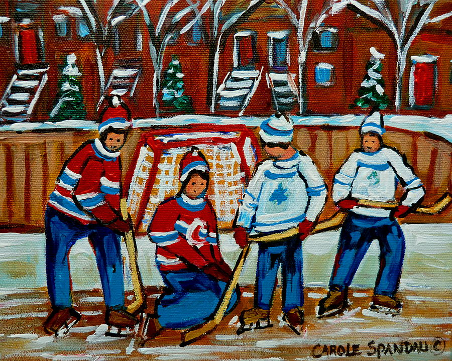 Hockey Art Painting - Rink Hockey Montreal Street Scenes by Carole Spandau