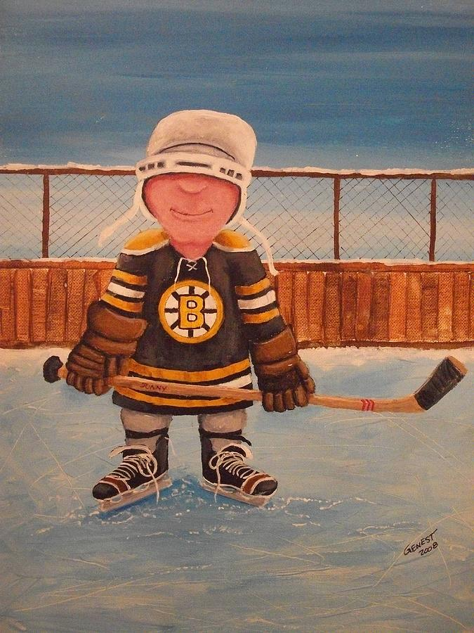Boston Bruins Painting - Rinkrattz - Jonny - Boston  by Ron  Genest