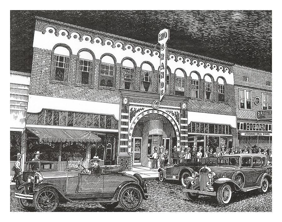 Rio Grande Theater Drawing by Jack Pumphrey