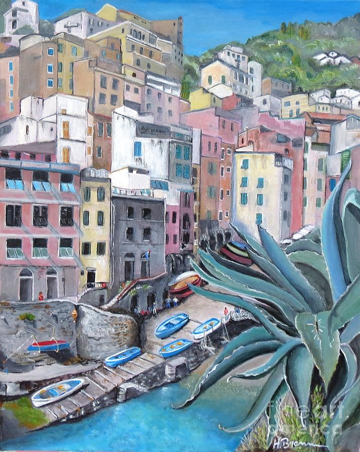 Cinque Terra Painting - Riomaggiore - The First Stop by Holly Bartlett Brannan