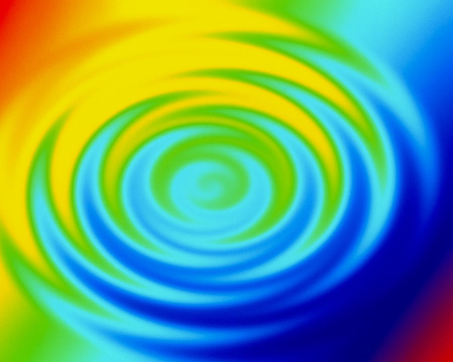 Water Drop Photograph - Ripples From Water Drop In Colours by Mehau Kulyk