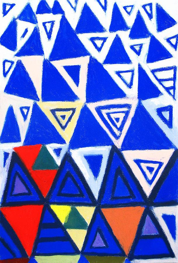 Geometric Pattern Painting - Rising Blue Triangles by Kazuya Akimoto