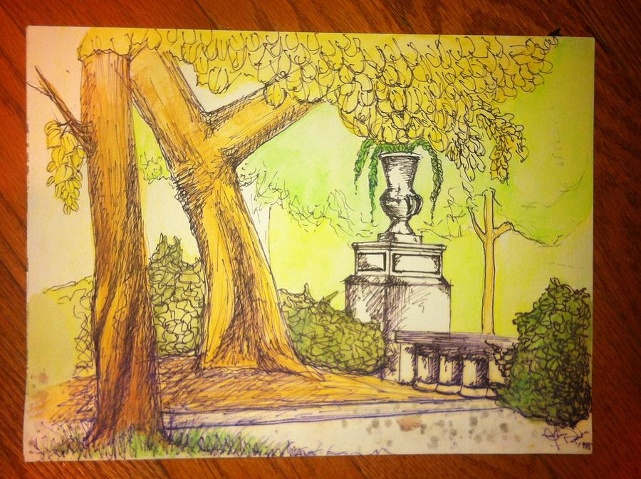 Rittenhouse Square Drawing - Rittenhouse Afternoon by J D