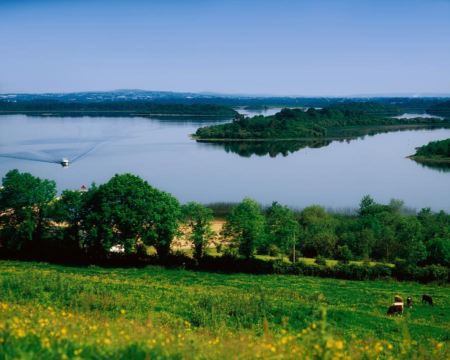 Agriculture Photograph - River Cruising, Upper Lough Erne by The Irish Image Collection