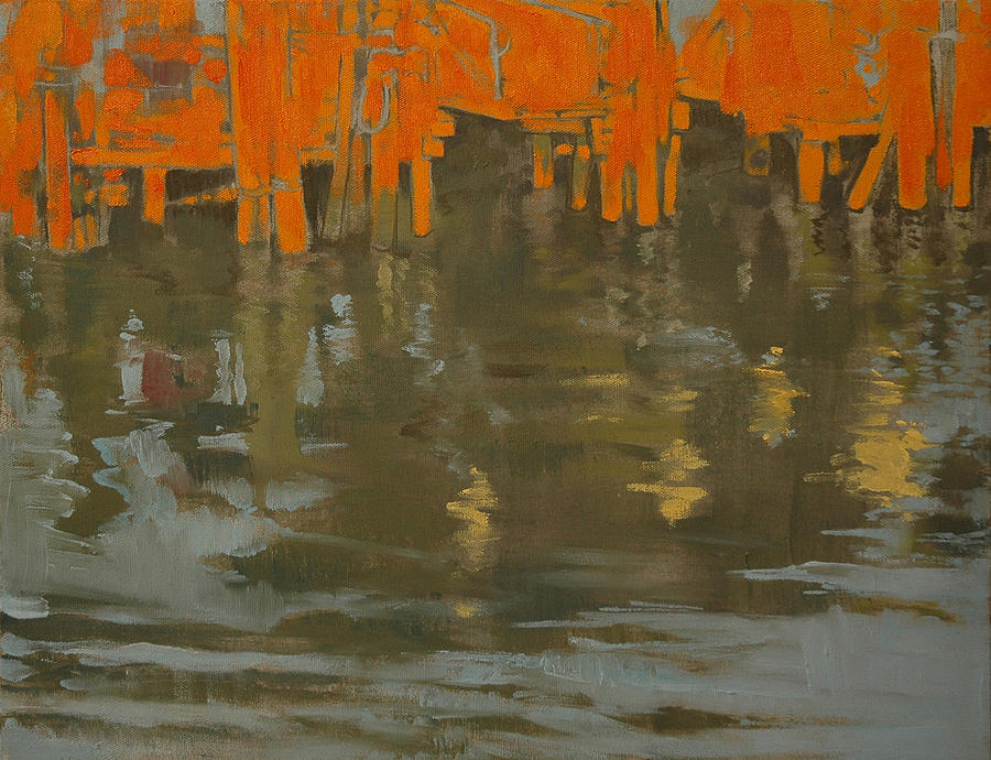 River Painting - River Pier by Amy Bernays