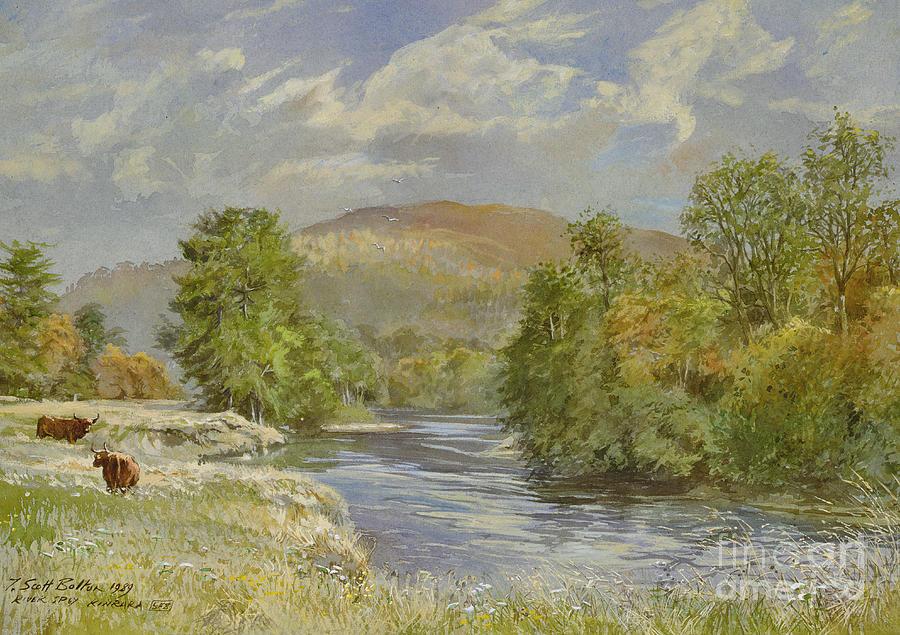 Landscape; River Scene; Highland Cattle; Meadow; Pastoral; Scottish; Hill; Hills; Tree; Trees; River Spey; Kinrara; Bull; Bulls; River; Water; Birds; Blue Sky; Sky Painting - River Spey - Kinrara by Tim Scott Bolton