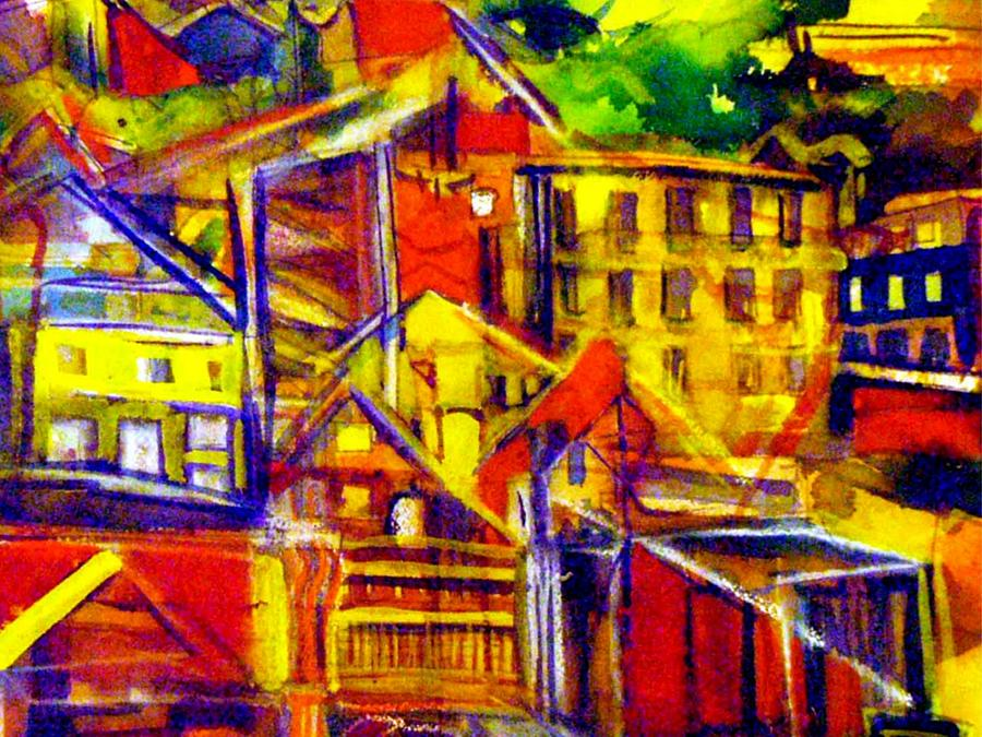 Town Painting - River Town Cincinnati Ohio by Mindy Newman