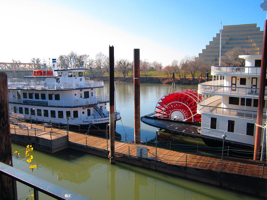 Old Town Sacramento Photograph - Riverboats by Barry Jones