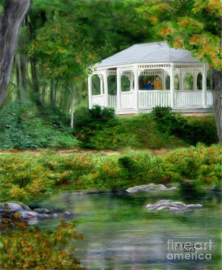 Riverside Painting - Riverside Gazebo by Judy Filarecki