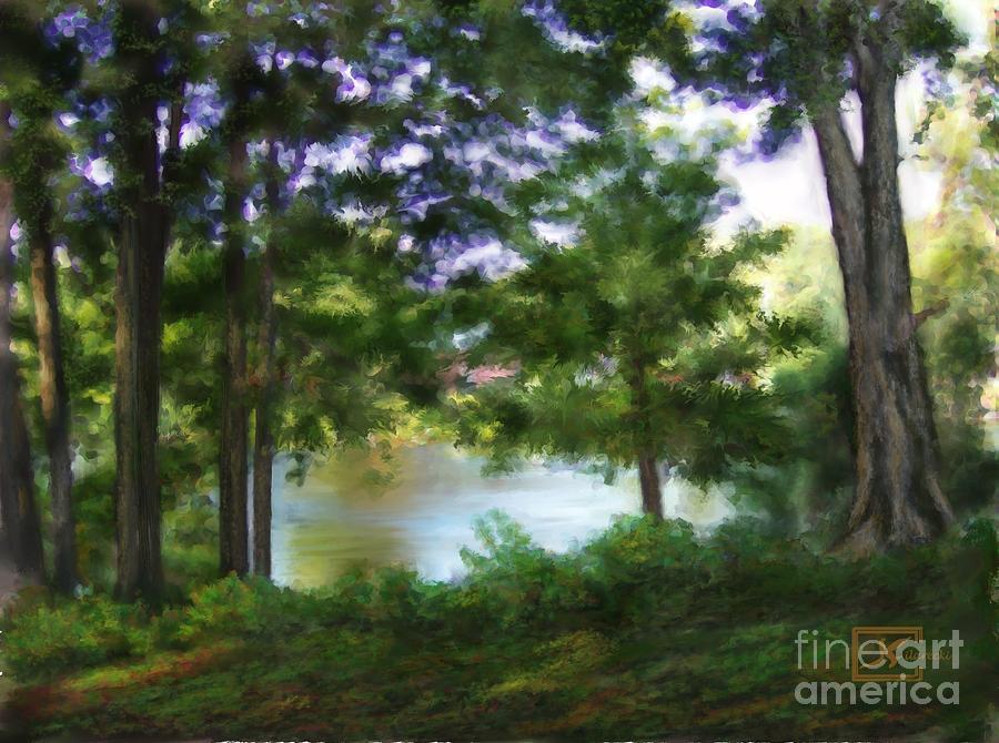 Riverside Painting - Riverside View Landscape by Judy Filarecki