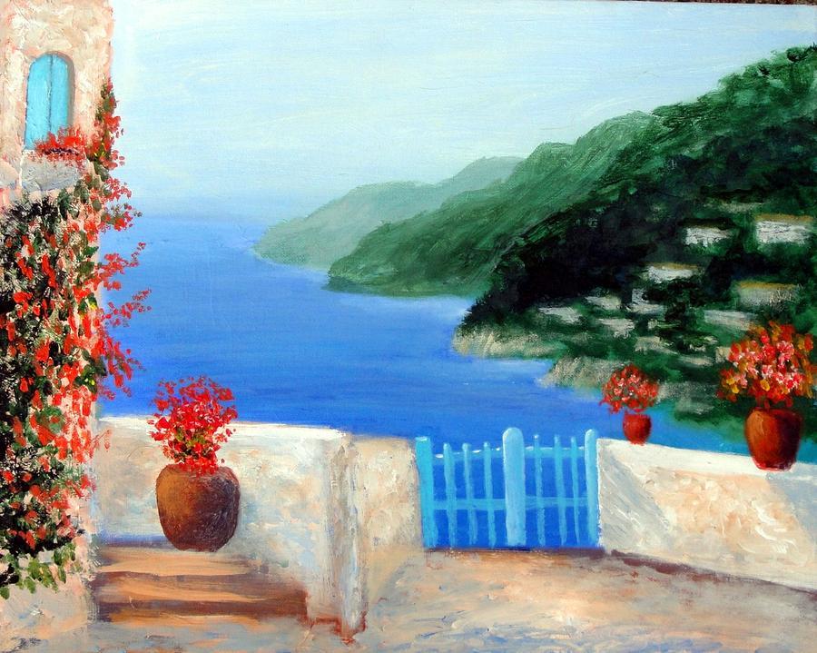 Amalfi Coast Painting - Riviera by Larry Cirigliano