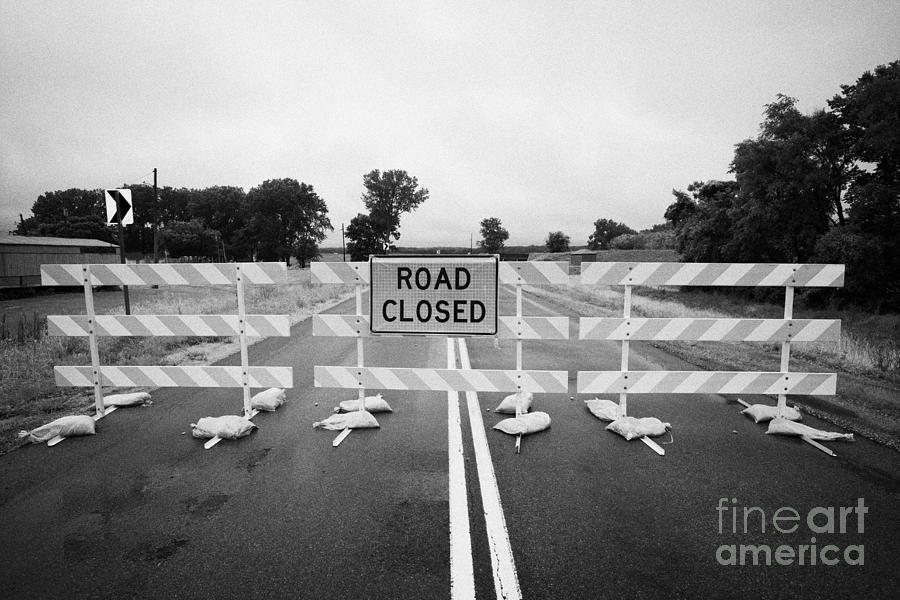 Road Photograph - Road Closed And Highway Barrier Due To Flooding Iowa Usa United States Of America by Joe Fox