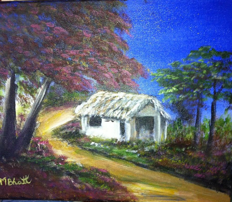 Land Scape Painting - Road House by M bhatt