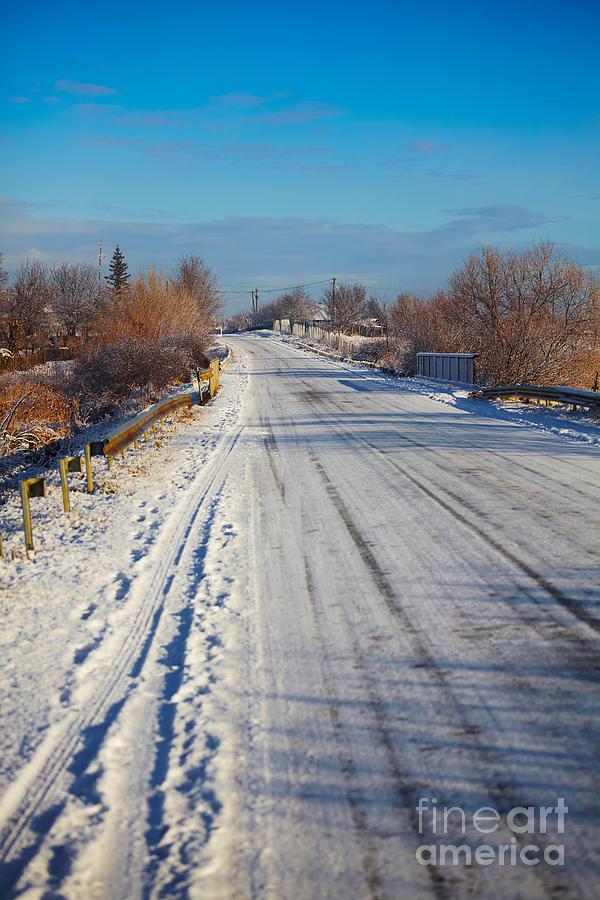 Snow Photograph - Road In Winter by Gabriela Insuratelu