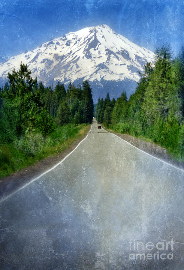 Snow Covered Mountain Photograph - Road Leading To Snow Covered Mount Shasta by Jill Battaglia