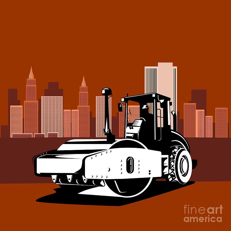 Road Roller Digital Art - Road Roller  Retro  by Aloysius Patrimonio