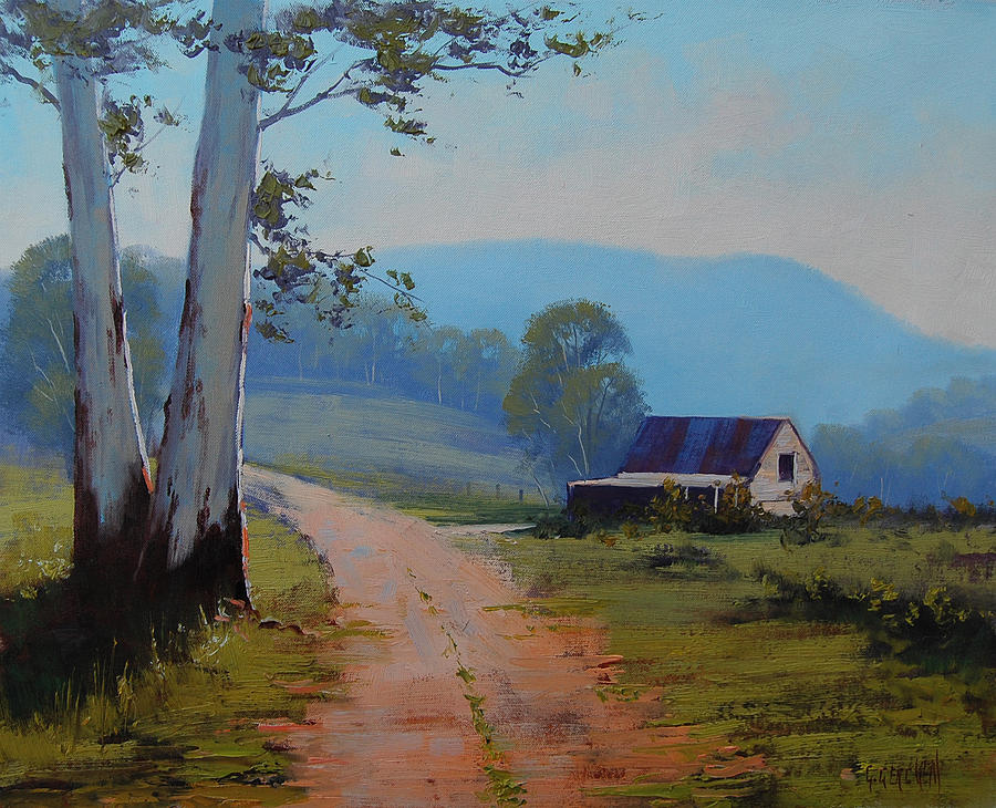 Hilly Painting - Road To The Farm by Graham Gercken