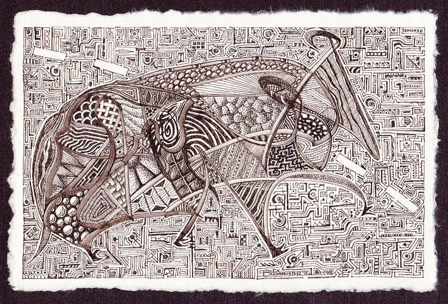 Pen And Ink Drawing - Roadkill Petroglyph by Buck Buchheister