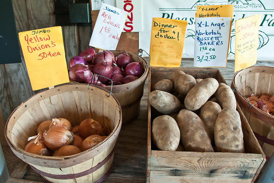 Vegetables Photograph - Roadside Produce Stand Onions Potatoes Shallots by Denise Lett