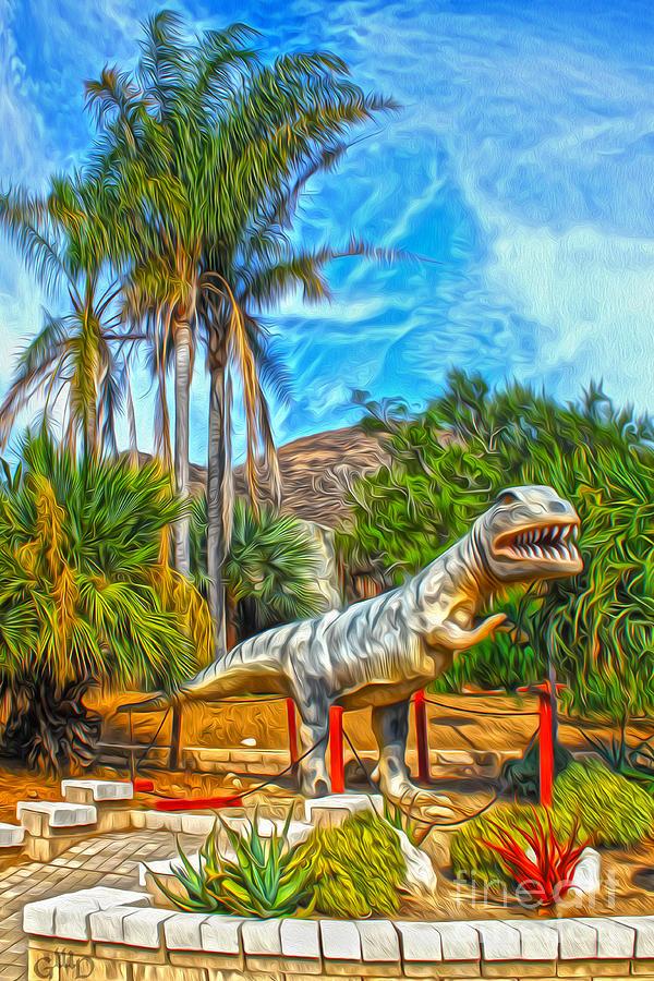 T-rex Painting - Roadside Raptor by Gregory Dyer