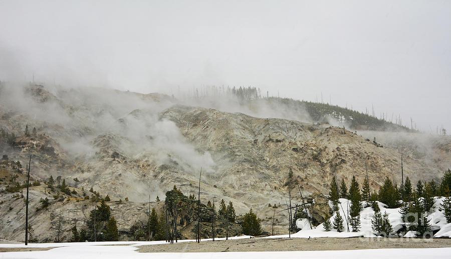 Yellowstone Photograph - Roaring Mountain In Yellowstone by Charline Xia