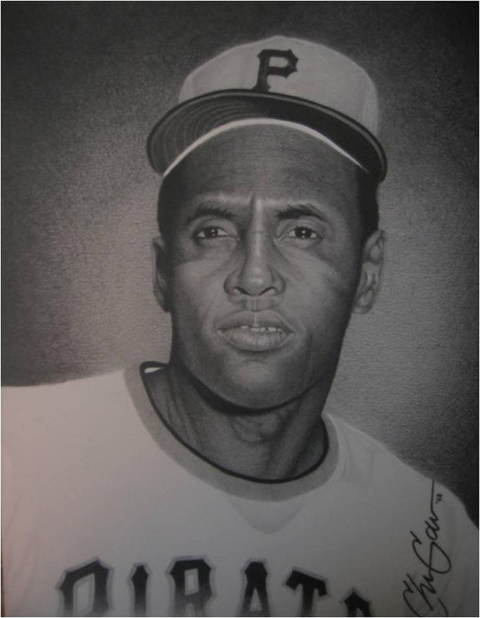 Portrait Drawing - Roberto Clemente by Christian Garcia