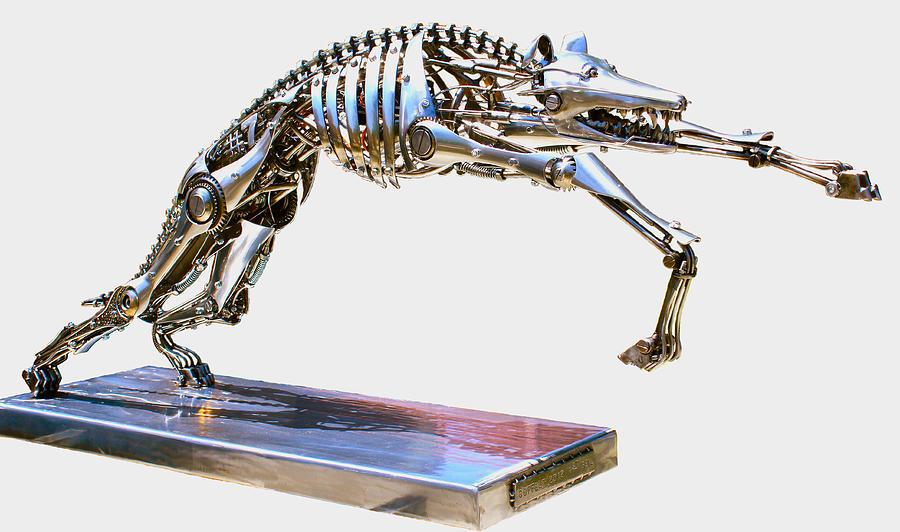 Robotic Greyhound Sculpture By Greg Coffelt
