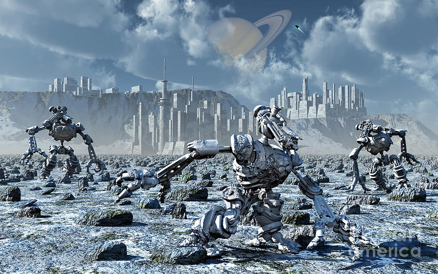 Digitally Generated Image Digital Art - Robots Gathering Rich Mineral Deposits by Mark Stevenson