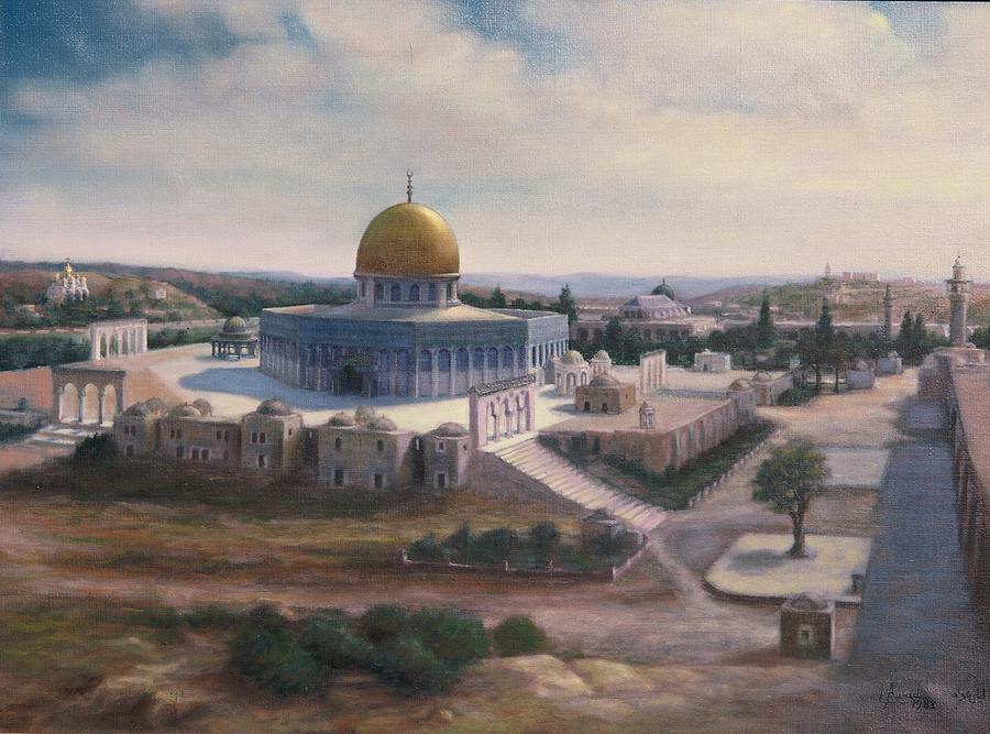 Dome Painting - Rock Dome - Jerusalem by Laila Awad Jamaleldin