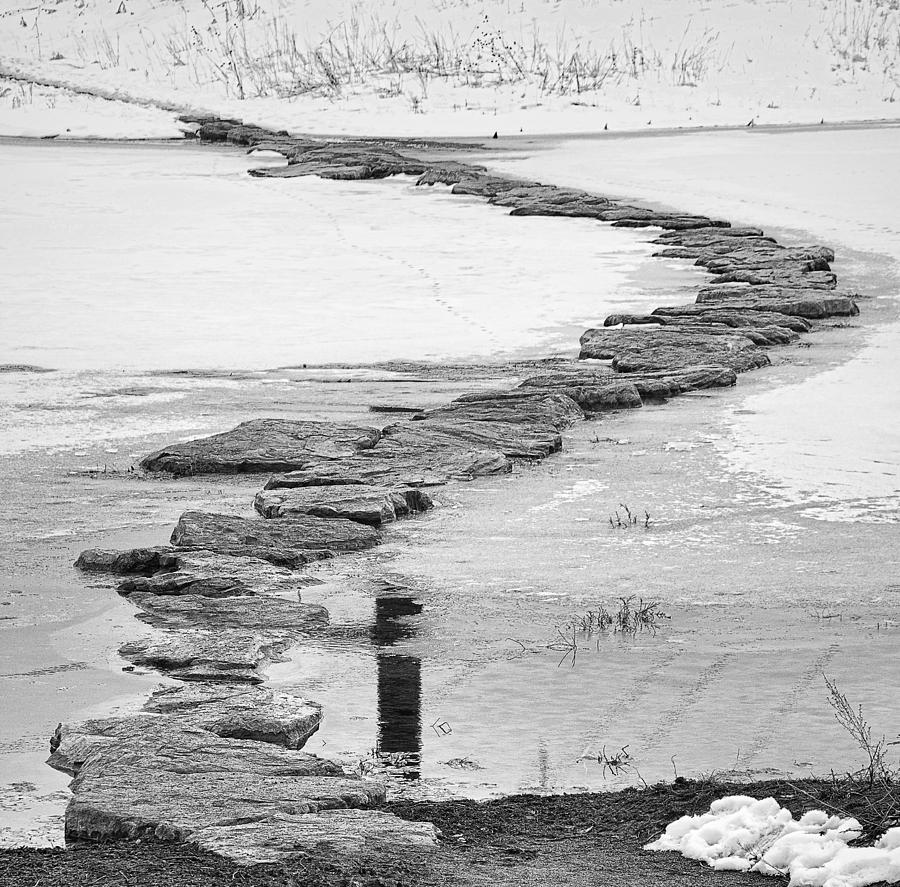 Crossing Photograph - Rock Lake Crossing In Black And White  by James BO Insogna