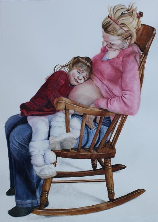 Pregnancy Painting - Rocker Mom by Kathy Michels