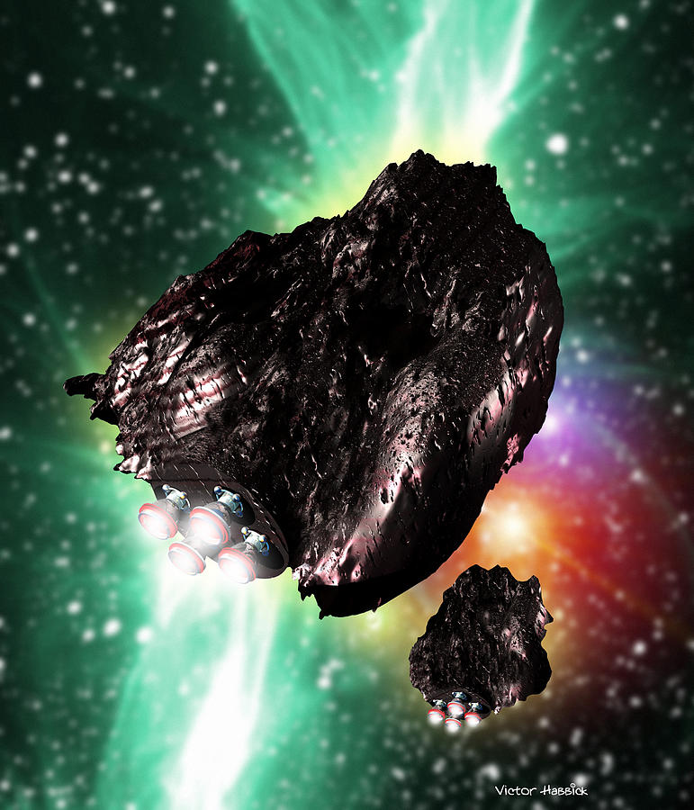 Asteroid Photograph - Rocket-controlled Asteroids by Victor Habbick Visions