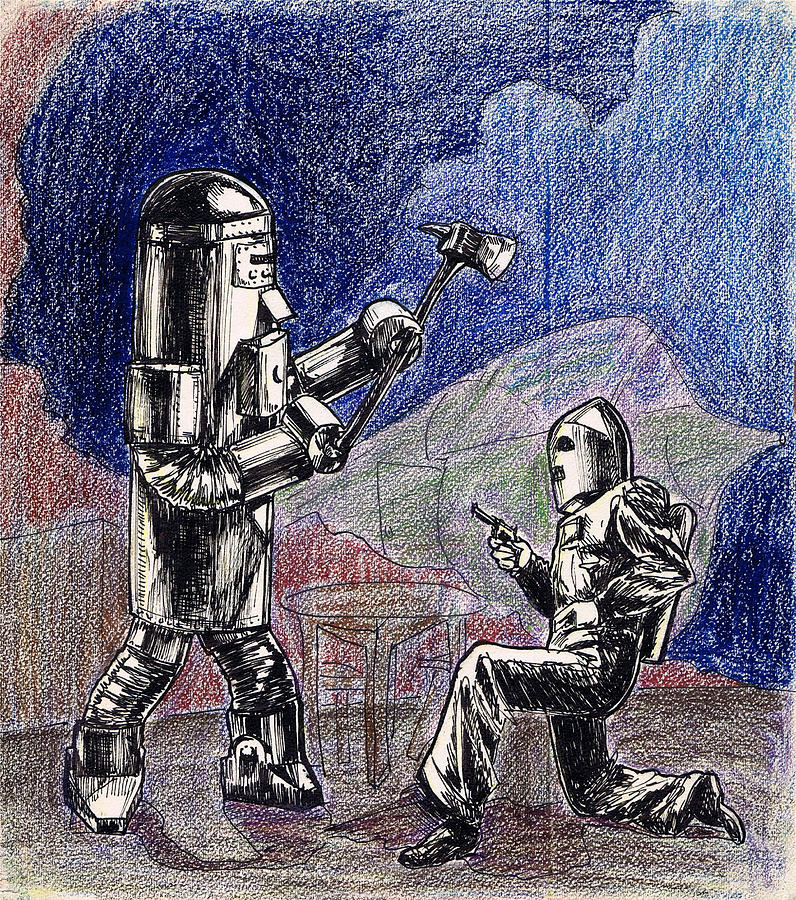 Nostalgia Drawing - Rocket Man And Robot by Mel Thompson