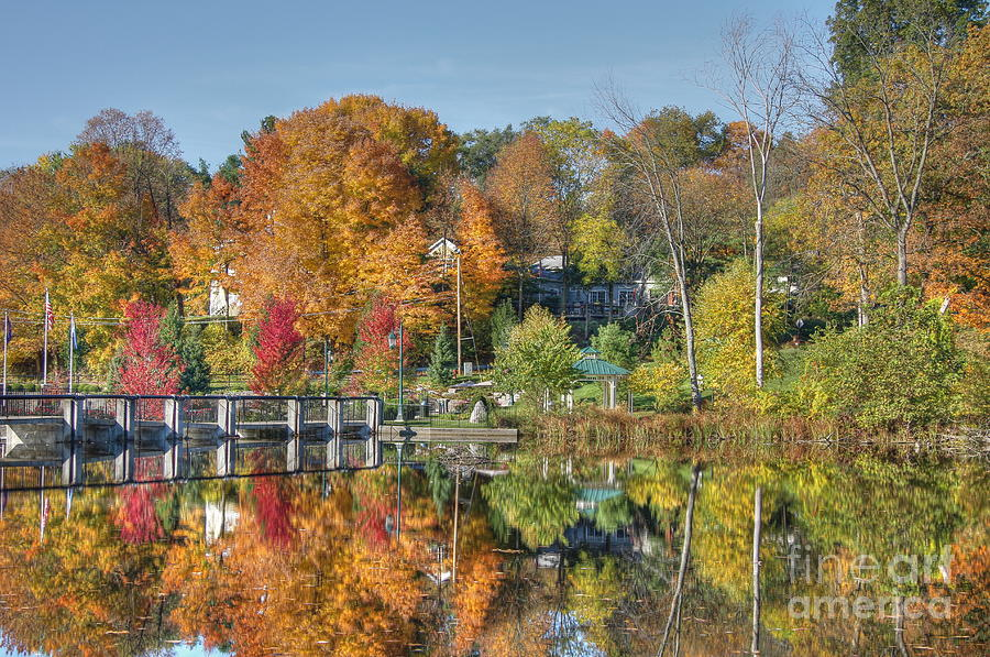 Reflection Photograph - Rockford Michigan In Fall by Robert Pearson