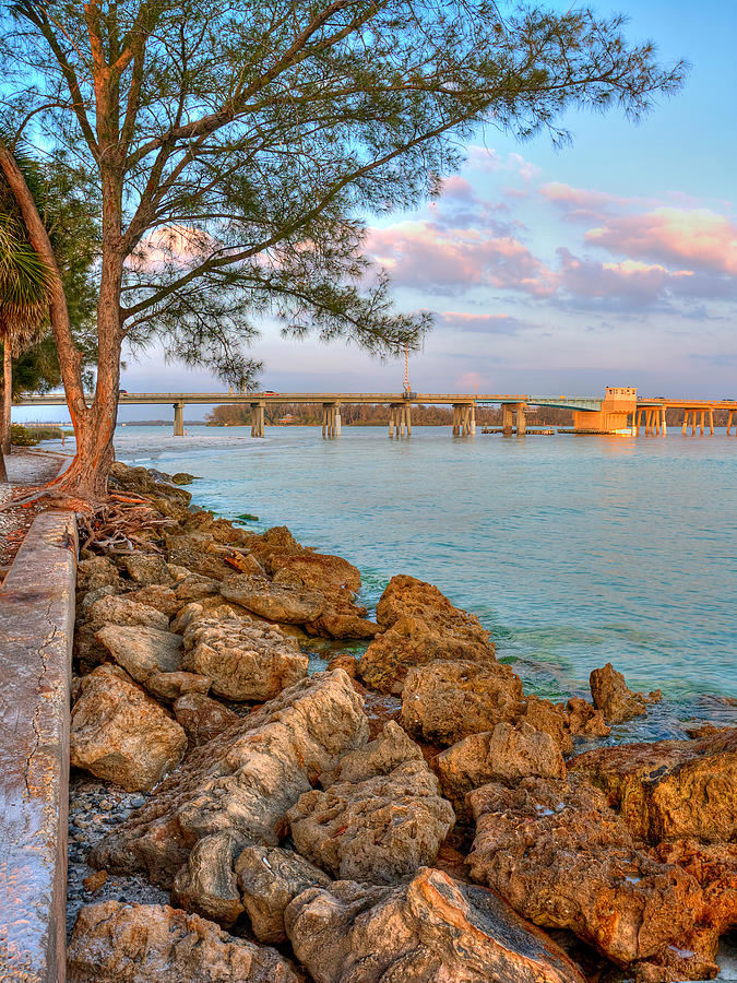 Rocks And Water Longboat Pass Bridge Photograph by Jenny Ellen Photography