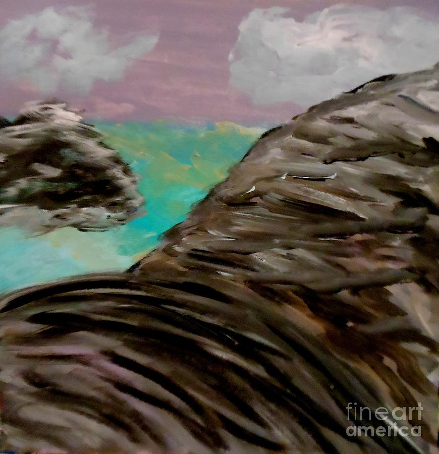 Sky Painting - Rocks And Water by Marie Bulger