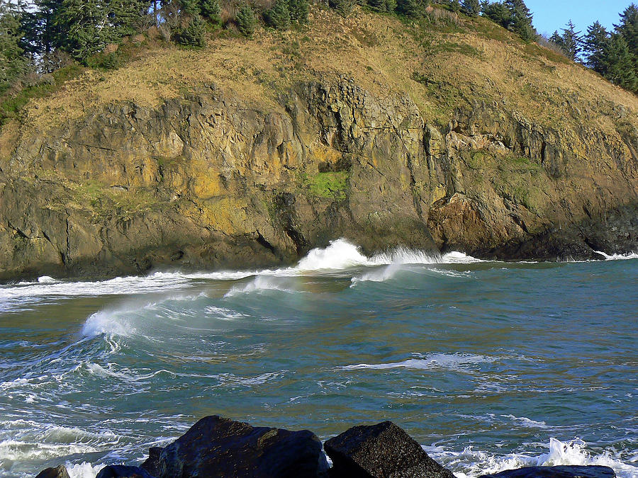 Cove Photograph - Rocks And Waves by Pamela Patch