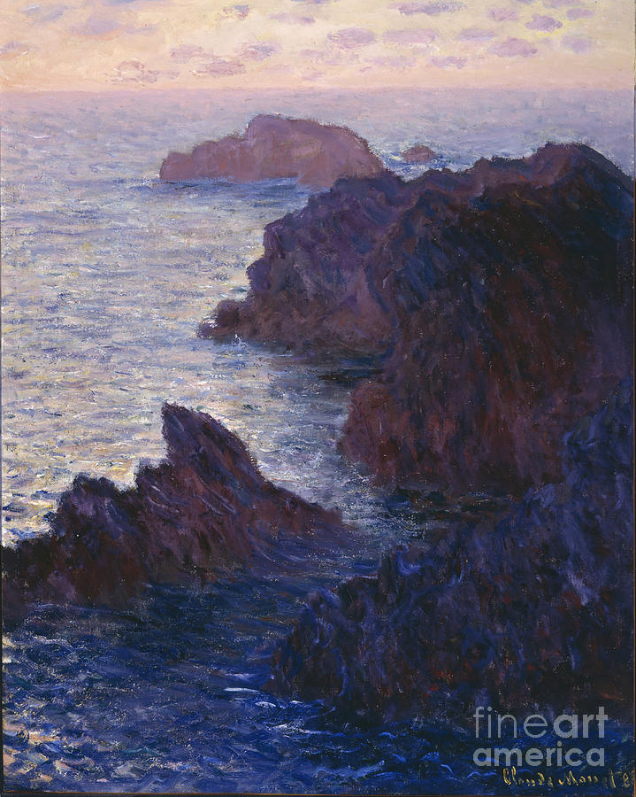 Rocks At Bell-ile Painting - Rocks At Bell Ile Port Domois by Claude Monet