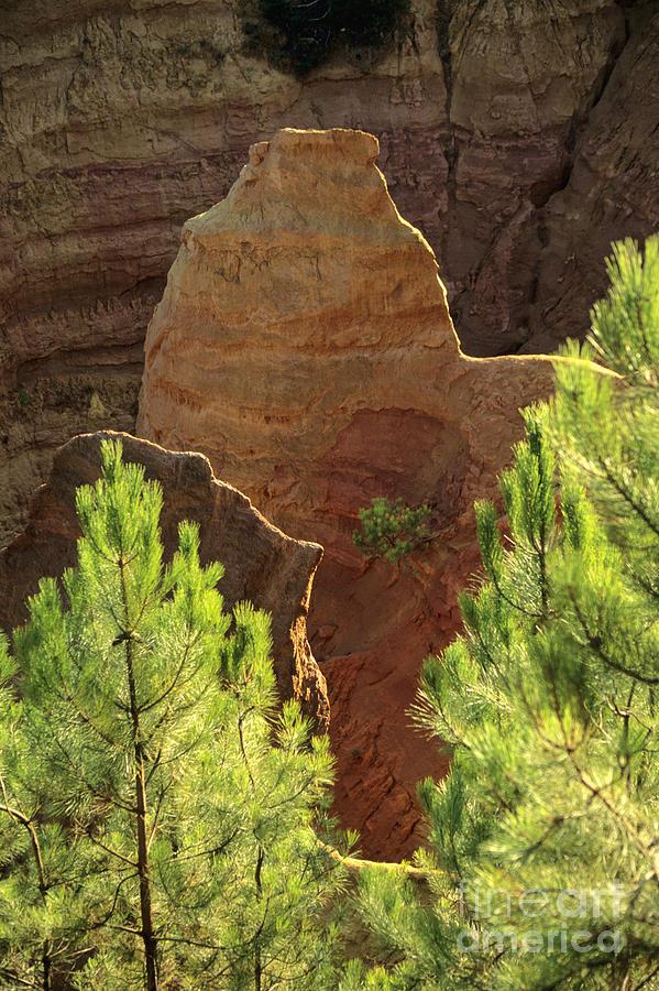 Europe Photograph - Rocks. Ochre.  Roussillon. Luberon. France. Europe by Bernard Jaubert