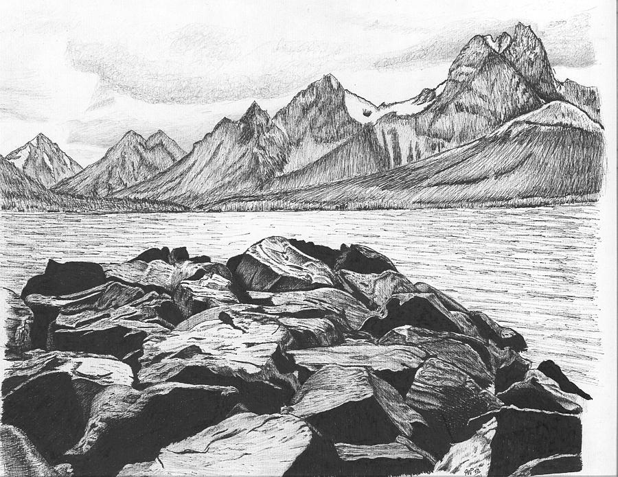 Rocky coastal landscape drawing by reppard powers for What is landscape drawing