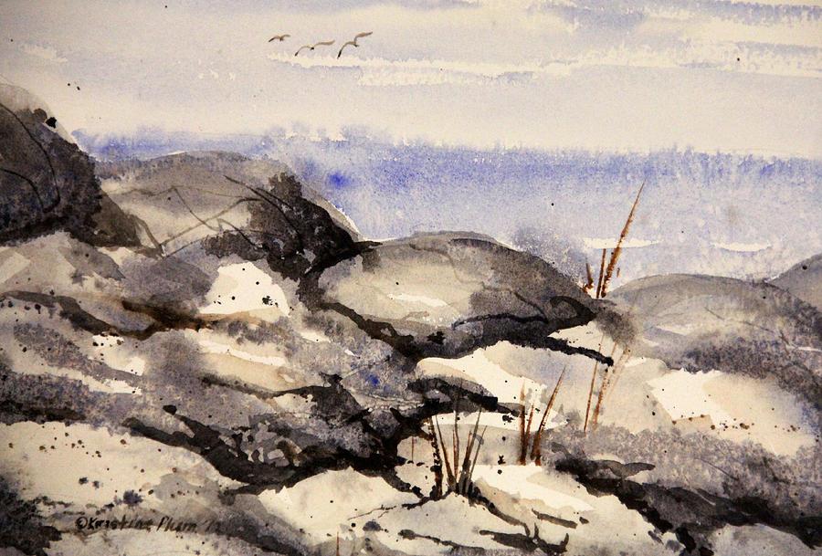 Coastline Painting - Rocky Shore by Kristine Plum