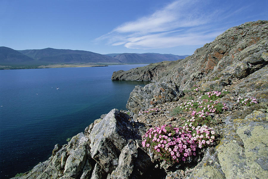 Rocky Shoreline, Barakchin Island, Lake Photograph by Konrad Wothe