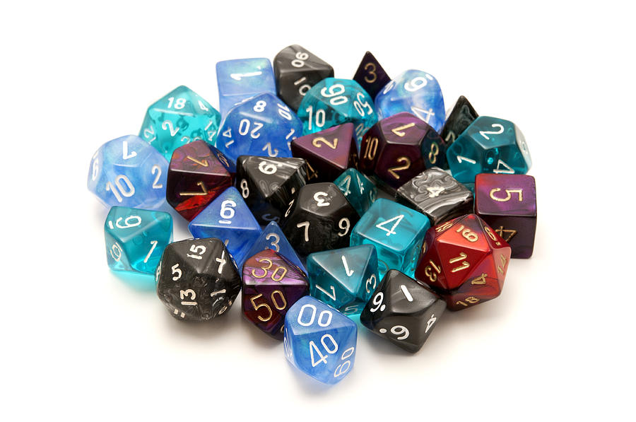 White Background Photograph - Role-playing Dices by Fabrizio Troiani