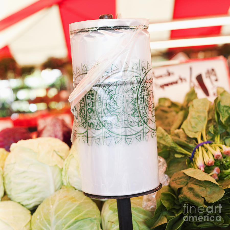 Bag Photograph - Roll Of Plastic Produce Bags In A Market by Jetta Productions, Inc