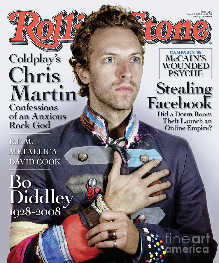Chris Martin Photograph - Rolling Stone Cover - Volume #1055 - 6/26/2008 - Chris Martin by Nadav Kander