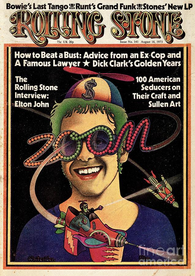 Elton John Photograph - Rolling Stone Cover - Volume #141 - 8/16/1973 - Elton John by Kim Whitesides