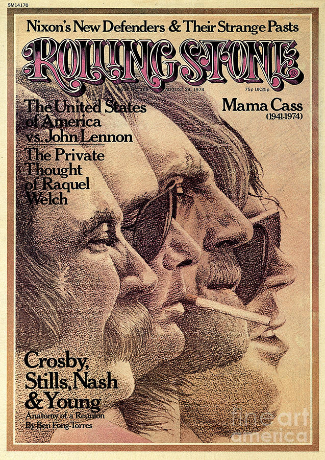 Crosby Photograph - Rolling Stone Cover - Volume #168 - 8/29/1974 - Crosby, Still, Nash And Young by Dugard Stermer