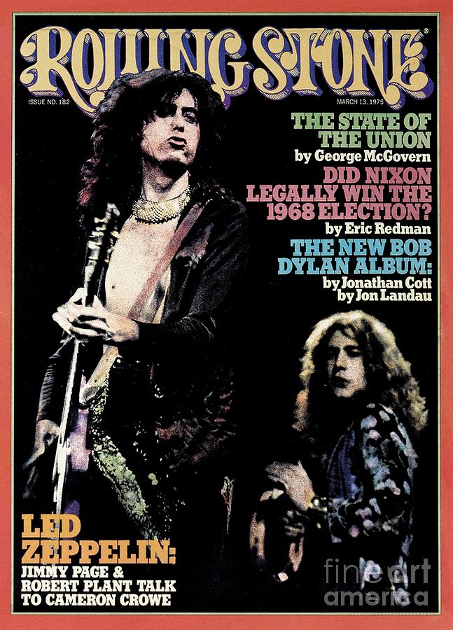 Rolling Stone Photograph - Rolling Stone Cover - Volume #182 - 3/13/1975 - Jimmy Page And Robert Plant by Neal Preston